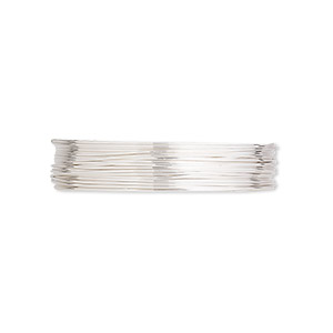 wire, argentium silver, full-hard, round, 26 gauge. sold per pkg of 5 feet.