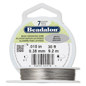 wire, beadalon, bright, 7 strand, 0.015-inch diameter. sold per 30-foot spool.