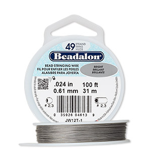 wire, beadalon, nylon and stainless steel, bright, 49 strand, 0.024-inch diameter. sold per 100-foot spool.