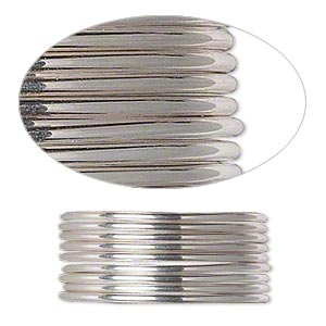 wire, beadalon, stainless steel, 3/4 hard, half-round, 18 gauge. sold per pkg of 5.25 meters.
