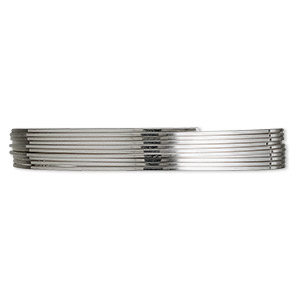 wire, beadalon, stainless steel, 3/4 hard, square, 22 gauge. sold per pkg of 6.5 meters.
