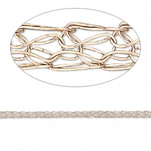 wire, enamel and copper, 2.5mm flat knit. sold per pkg of 5 feet.