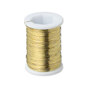 wire, gold-plated brass, round, 31 gauge. sold per pkg of (2) 24-yard spools.