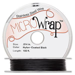 wire, microwrap™, nylon-coated stainless steel, black, 1 strand, 0.014-inch diameter. sold per 100-foot spool.