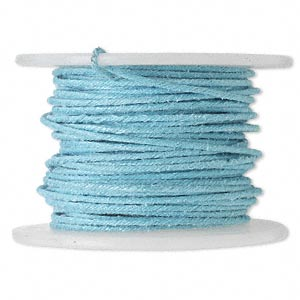 wire, polyester-covered galvanized steel, light blue, 1mm wide, 18 gauge. sold per 10-yard spool.