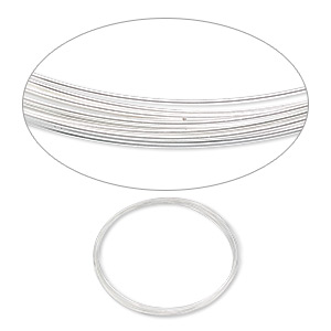 wire, silver-plated carbon steel, 0.5-0.6mm thick, 3-5/8 inch inside diameter. sold per pkg of 12 loops.