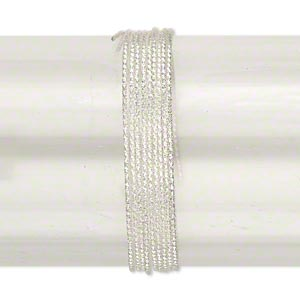 wire, sterling silver, dead-soft, textured round, 18 gauge. sold per pkg of 25 feet.
