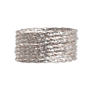 wire, sterling silver, dead-soft, twisted round, 13.5 gauge. sold per pkg of 5 feet.
