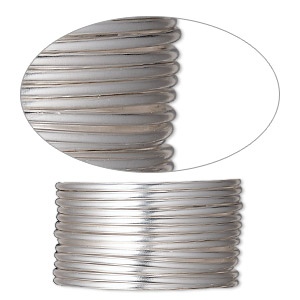 wire, sterling silver-filled, half-hard, round, 14 gauge. sold per pkg of 5 feet.