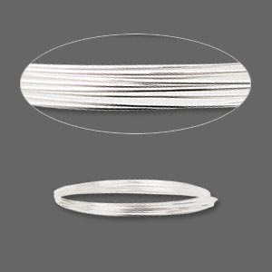 wire, sterling silver, full-hard, round, 20 gauge. sold per pkg of 5 feet.