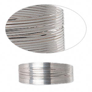 wire, sterling silver, full-hard, square, 26 gauge. sold per pkg of 5 feet.