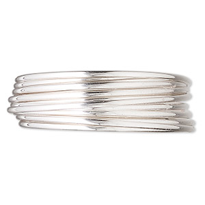 wire, sterling silver, half-hard, half-round, 16 gauge. sold per pkg of 5 feet.