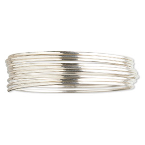 wire, sterling silver, half-hard, round, 16 gauge. sold per pkg of 5 feet.
