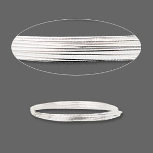 wire, sterling silver, half-hard, round, 21 gauge. sold per pkg of 5 feet.
