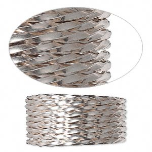 wire, sterling silver, half-hard, twisted square, 16 gauge. sold per pkg of 5 feet.