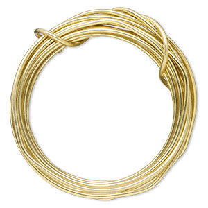 wire, zebra wire™, brass, gold color, round, 12 gauge. sold per 3-yard spool.