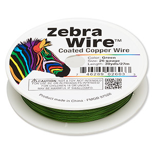 wire, zebra wire™, color-coated copper, green, round, 26 gauge. sold per 30-yard spool.