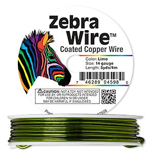 wire, zebra wire™, color-coated copper, lime green, round, 14 gauge. sold per 5-yard spool.