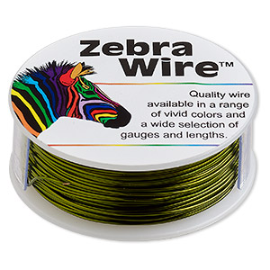 wire, zebra wire™, color-coated copper, lime green, round, 22 gauge. sold per 1/4 pound spool, approximately 45 yards.