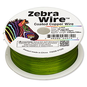 wire, zebra wire™, color-coated copper, lime green, round, 30 gauge. sold per 1/4 pound spool, approximately 215 yards.
