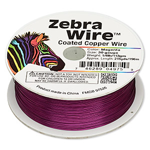 wire, zebra wire™, color-coated copper, magenta, round, 30 gauge. sold per 1/4 pound spool, approximately 215 yards.