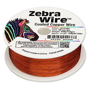 wire, zebra wire™, color-coated copper, orange, round, 28 gauge. sold per 1/4 pound spool, approximately 164 yards.