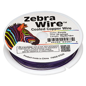 wire, zebra wire™, color-coated copper, purple, round, 22 gauge. sold per 15-yard spool.