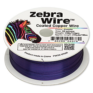 wire, zebra wire™, color-coated copper, purple, round, 30 gauge. sold per 1/4 pound spool, approximately 215 yards.