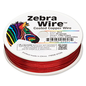 wire, zebra wire™, color-coated copper, red, round, 26 gauge. sold per 1/4 pound spool, approximately 115 yards.