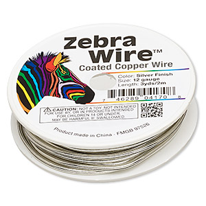 wire, zebra wire™, copper, silver color, round, 12 gauge. sold per 3-yard spool.
