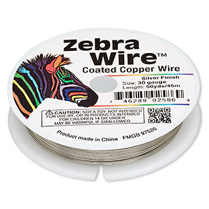 wire, zebra wire™, copper, silver color, round, 30 gauge. sold per 50-yard spool.
