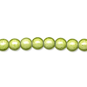 wonder bead, acrylic, medium green, 6mm round. sold per 16-inch strand.