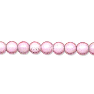 wonder bead, acrylic, pink, 6mm round. sold per 16-inch strand.