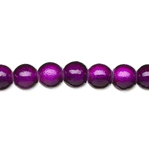 wonder bead, acrylic, purple, 8mm round. sold per 16-inch strand.