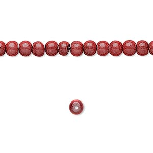 wonder bead, acrylic, rose, 4mm round with 0.9-1.2mm hole. sold per 16-inch strand.