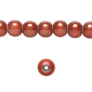 wonder bead, acrylic, rose, 8mm round. sold per 16-inch strand.