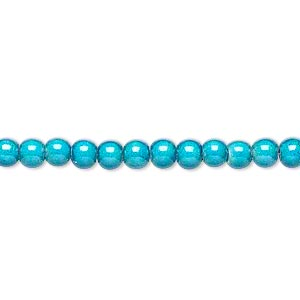 wonder bead, acrylic, turquoise, 4mm round with 0.9-1.2mm hole. sold per 16-inch strand.