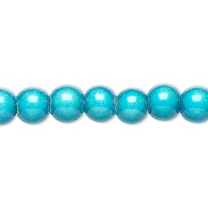 wonder bead, acrylic, turquoise blue, 8mm round. sold per 16-inch strand.