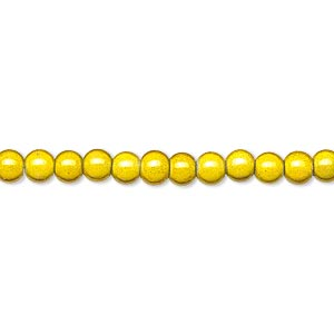 wonder bead, acrylic, yellow, 4mm round with 0.9-1.2mm hole. sold per 16-inch strand.