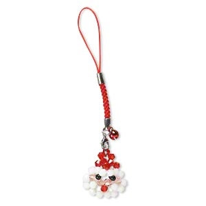 zipper pull, nylon / glass / steel / aluminum / pewter (zinc-based alloy), multicolored, 4-1/2 inches with 6mm bell and 28x26mm santa claus with lobster claw clasp. sold individually.