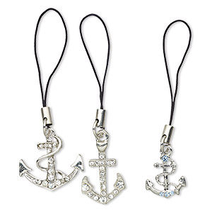 zipper pull, nylon / pewter (tin-based alloy) / egyptian glass rhinestone, black / clear / blue, 2 inches with 20x15mm anchor with rope / 24x23mm anchor / 27x16mm anchor with rope. sold per pkg of 3.